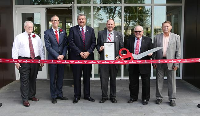 Picture of the ribbon cutting at Mcconnell Hall
