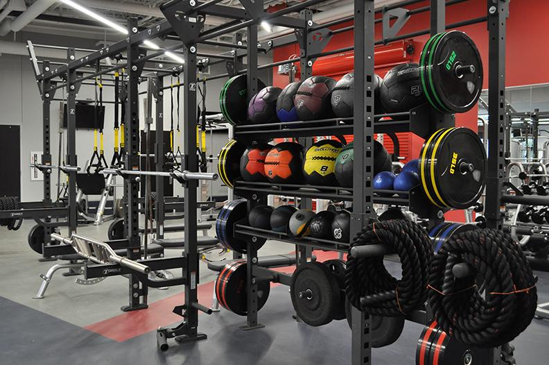 The weight room in Adena Hall