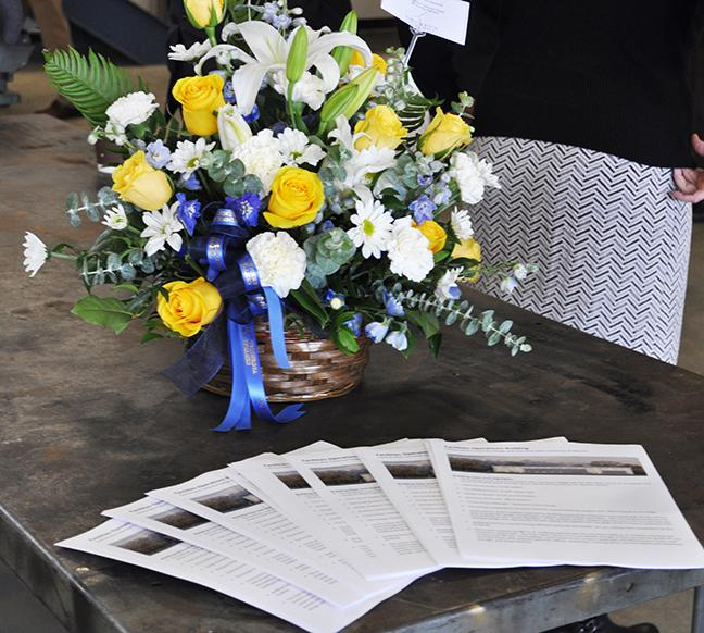 Flowers and brochures at the open house