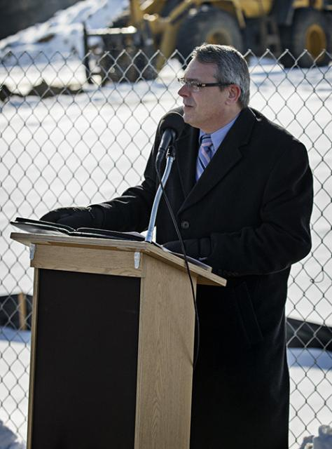 Man speaking at the groundbreaking ceremony