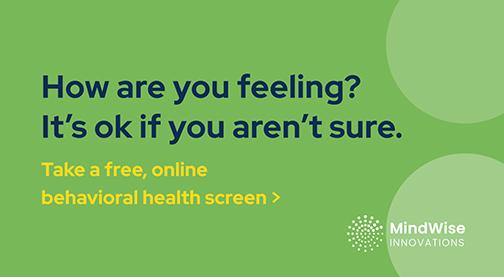Clickable Mindwise online free behavioral health screen