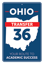 Ohio Transfer 36 logo uses state of Ohio background with a navy 36 in the middle