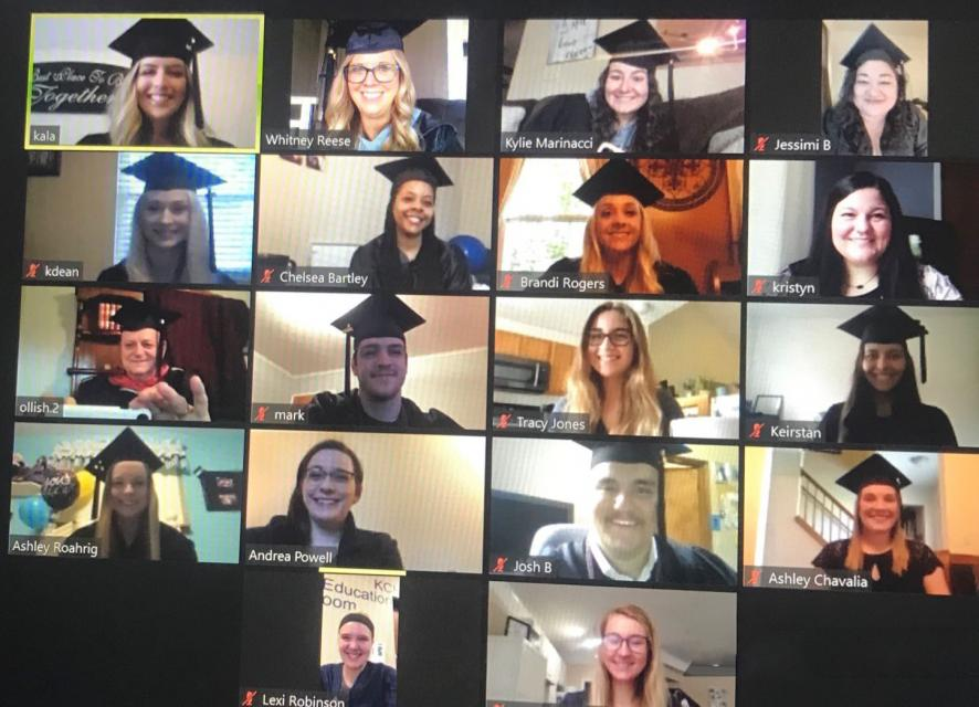 many people in different boxes in a shared Zoom screen, COTC radiologic science technology virtual pinning ceremony