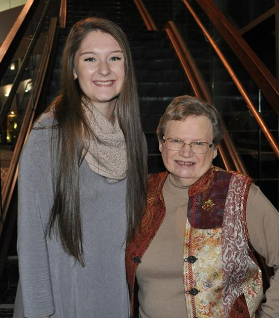 A Student and her grandmother at the scholarship breakfast
