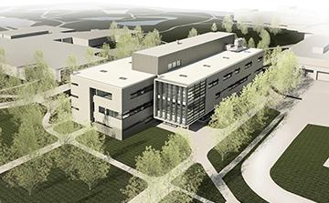 Aerial Rendering of the new Science Building