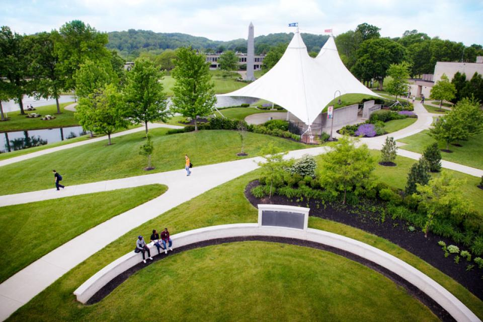 Aerial view of campus featuring the outdoor classroom and amphitheater.
