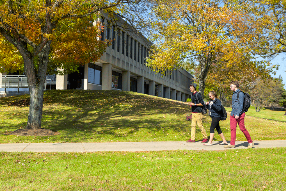 Three students walking across campus