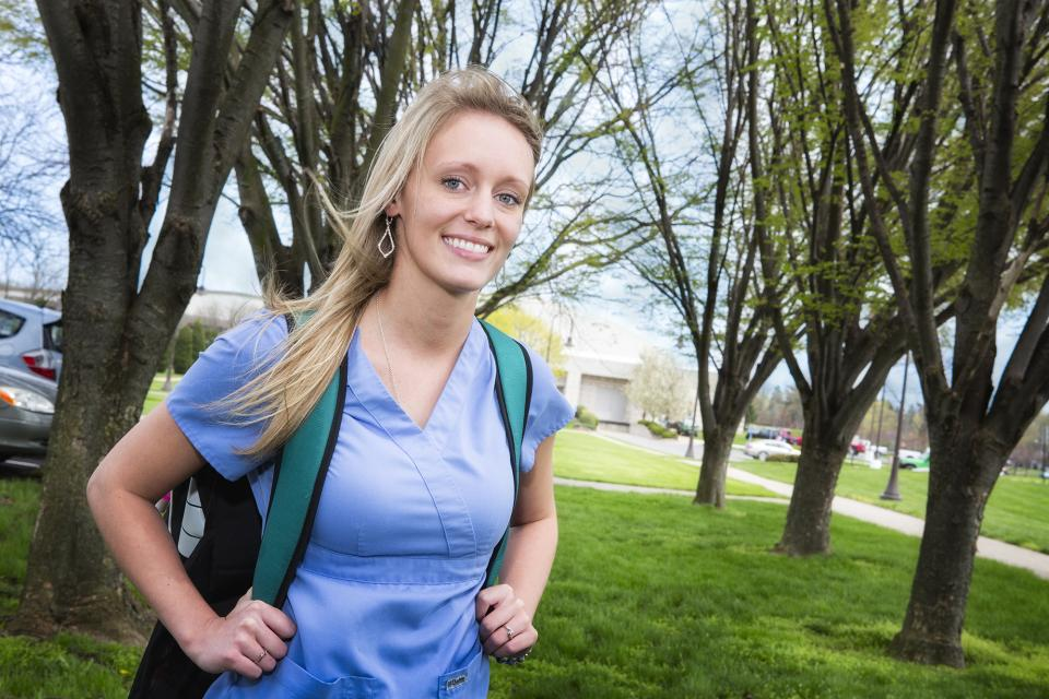 LPN student with backpack