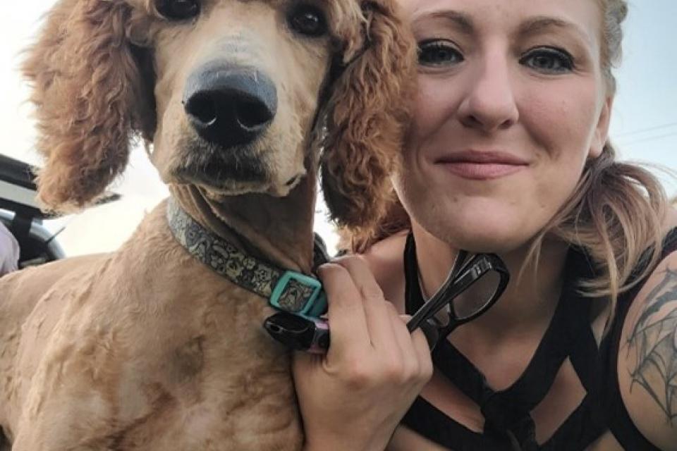Nicole Wells and her dog.