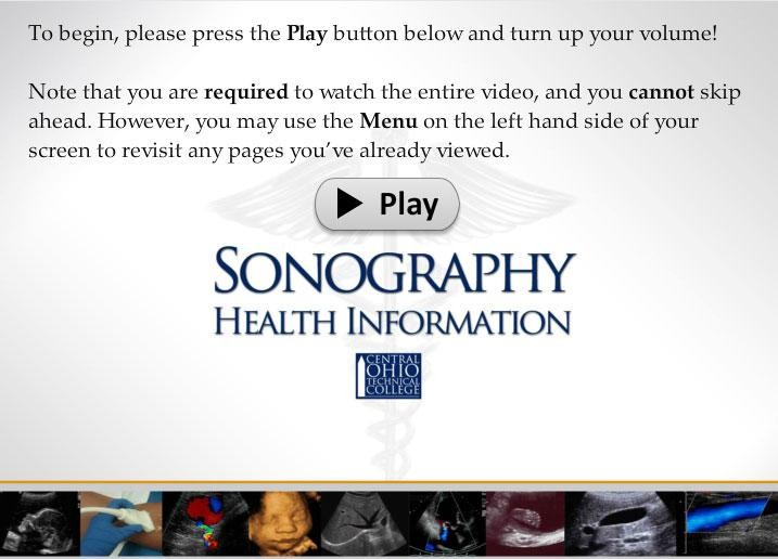 Screenshot of the Sonography Health Information video