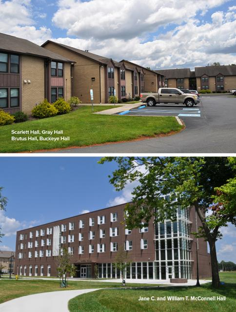 Pictures of residence halls at the Newark campus